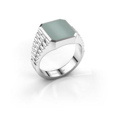 Foto van Rolex stijl ring Brent 2 585 witgoud groene lagensteen 12x10 mm