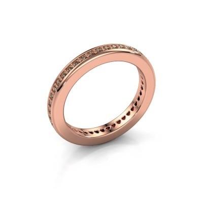 Foto van Aanschuifring Elvire 3 375 rosé goud bruine diamant 0.48 crt