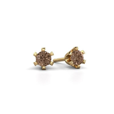 Stud earrings Shana 375 gold brown diamond 0.25 crt