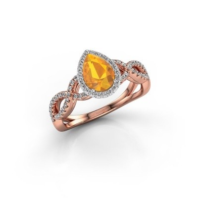 Engagement ring Dionne pear 585 rose gold citrin 7x5 mm