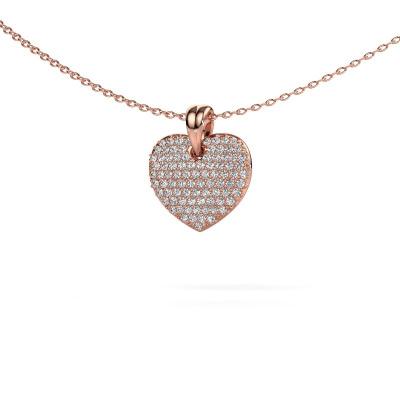 Foto van Halsketting Heart 5 375 rosé goud diamant 0.402 crt