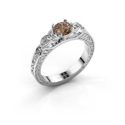 Bague de fiançailles Gillian 585 or blanc diamant brun 0.52 crt