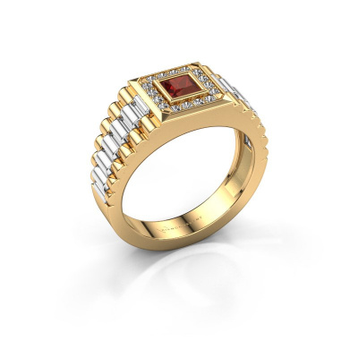Foto van Heren ring Zilan 585 goud granaat 4 mm