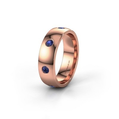 Wedding ring WH0105L26BP 375 rose gold sapphire ±6x2 mm