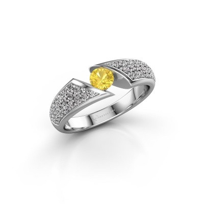 Engagement ring Hojalien 3 585 white gold yellow sapphire 4.2 mm
