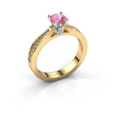 Verlovingsring Evelien 585 goud roze saffier 5 mm