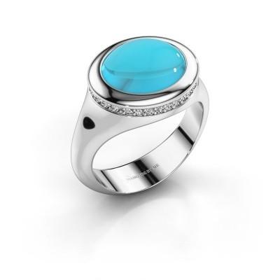 Picture of Ring Lesli ovl 375 white gold blue topaz 12x10 mm