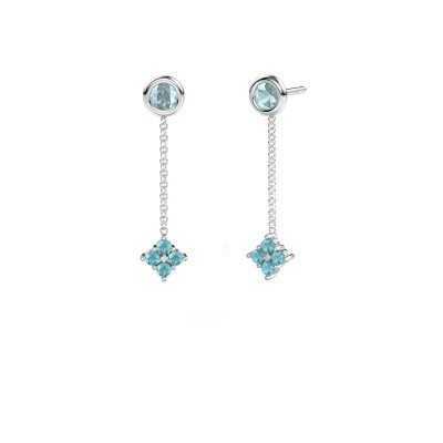 Picture of Drop earrings Ardith 585 white gold blue topaz 2 mm