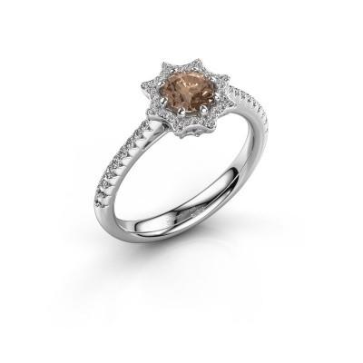 Aanzoeksring Zena 585 witgoud bruine diamant 0.730 crt