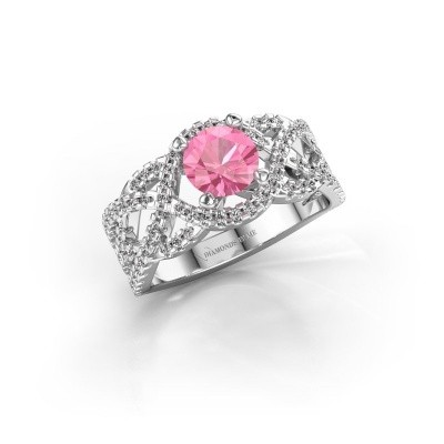 Verlovingsring Jeni 585 witgoud roze saffier 6.5 mm