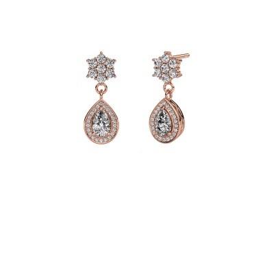 Picture of Drop earrings Era 585 rose gold zirconia 6x4 mm