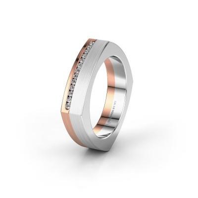 Huwelijksring WH2005L 585 rosé goud diamant ±5x2 mm