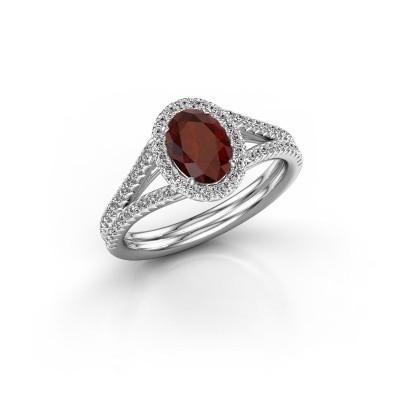 Engagement ring Rachele 2 950 platinum garnet 7x5 mm