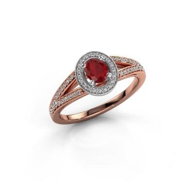 Verlovings ring Angelita OVL 585 rosé goud robijn 6x4 mm