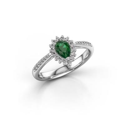 Foto van Verlovingsring Chere 2 585 witgoud smaragd 6x4 mm