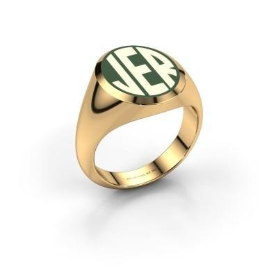 Monogram ring Paul emaille 585 goud