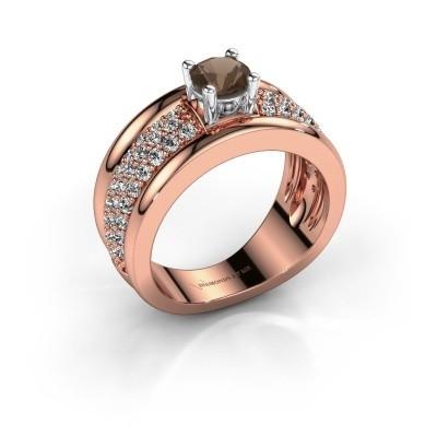Foto van Ring Alicia 585 rosé goud rookkwarts 5 mm