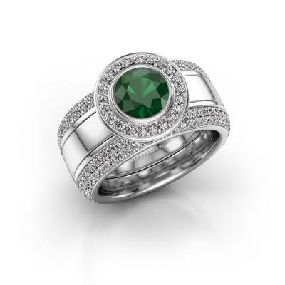 Foto van Ring Roxie 925 zilver smaragd 6.5 mm