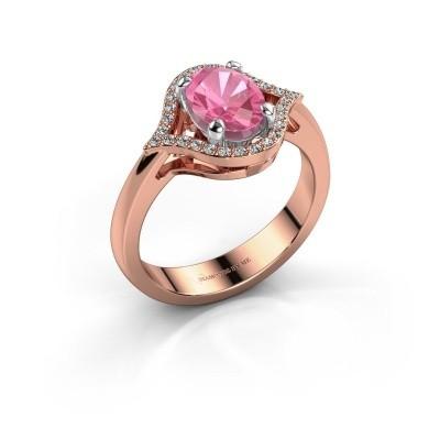 Foto van Ring Mendy 585 rosé goud roze saffier 8x6 mm