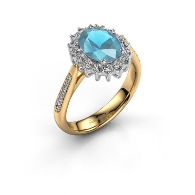 Verlovingsring Margien 2 585 goud blauw topaas 7x5 mm