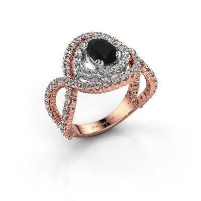 Ring Chau 585 rosé goud zwarte diamant 2.13 crt