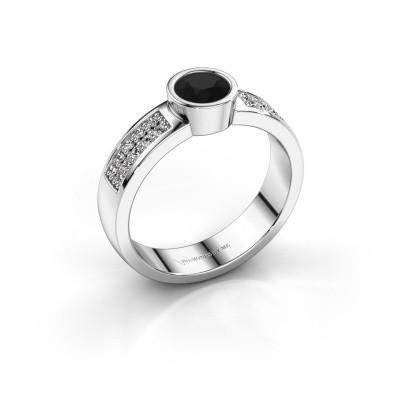 Verlovingsring Ise 3 585 witgoud zwarte diamant 0.63 crt