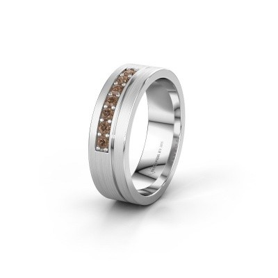 Trouwring WH0312L16AM 950 platina bruine diamant ±6x1.7 mm