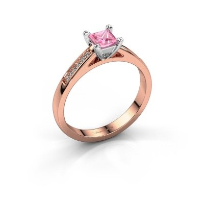 Verlobungsring Nynke SQR 585 Roségold Pink Saphir 4 mm