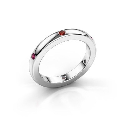 Stackable ring Charla 375 white gold garnet 2 mm