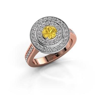 Foto van Ring Alecia 2 585 rosé goud gele saffier 5 mm