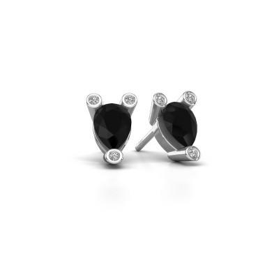 Foto van Oorstekers Cornelia Pear 925 zilver zwarte diamant 0.78 crt