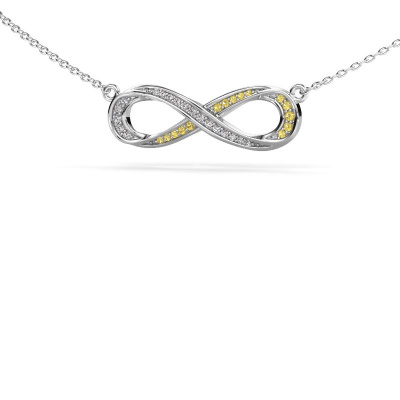 Collier Infinity 2 585 witgoud gele saffier 0.8 mm