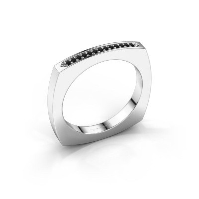 Stackable ring Ashley 925 silver black diamond 0.078 crt