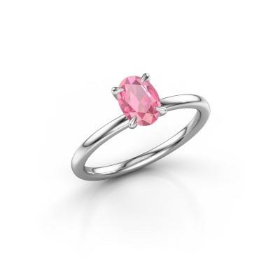 Foto van Verlovingsring Crystal OVL 1 950 platina roze saffier 7x5 mm