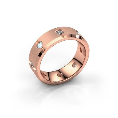 Men's ring Irwin 375 rose gold aquamarine 2.7 mm