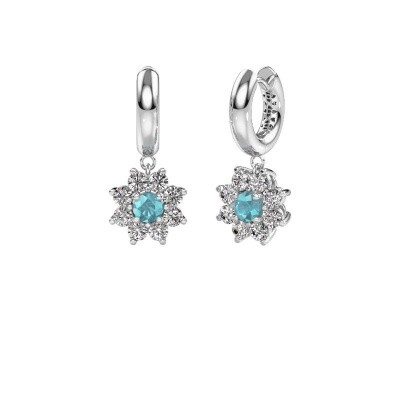 Drop earrings Geneva 1 585 white gold blue topaz 4.5 mm