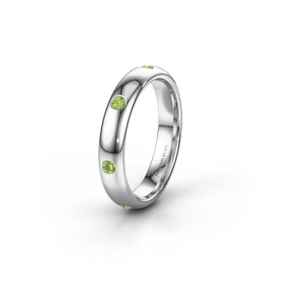 Wedding ring WH0105L34BP 950 platinum peridot ±0.16x0.08 in