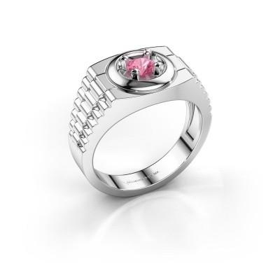 Foto van Rolex stijl ring Edward 925 zilver roze saffier 4.7 mm