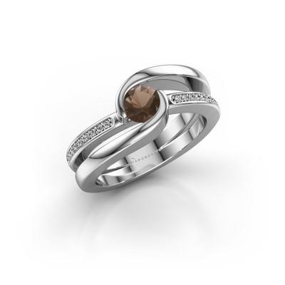 Foto van Ring Xenia 2 950 platina rookkwarts 5 mm
