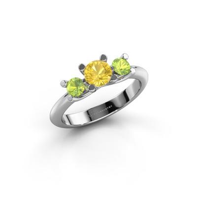Ring Mirthe 585 Weißgold Gelb Saphir 5 mm