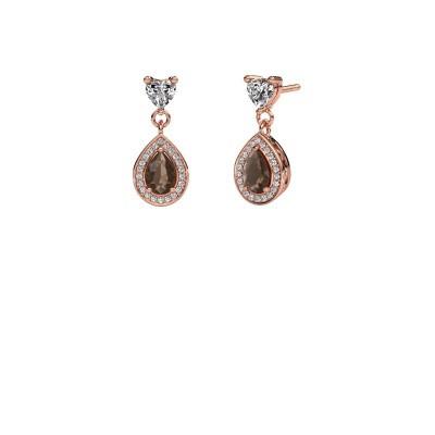 Drop earrings Susannah 375 rose gold smokey quartz 6x4 mm