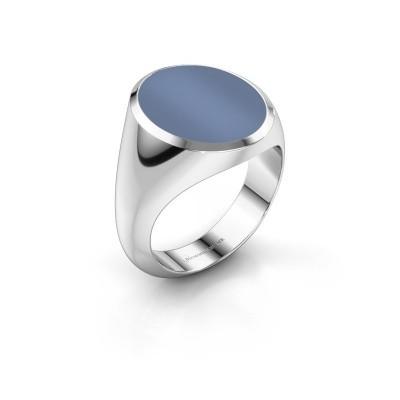 Foto van Zegelring Herman 6 375 witgoud licht blauwe lagensteen 16x13 mm