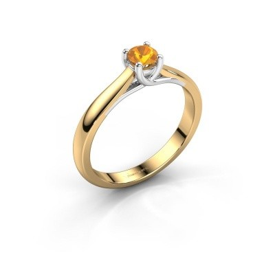 Photo de Bague de fiançailles Mia 1 585 or jaune citrine 4 mm