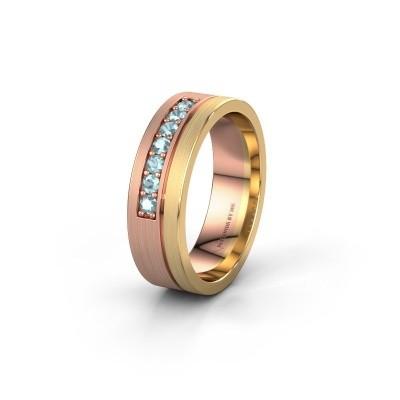 Trouwring WH0312L16AM 585 rosé goud aquamarijn ±6x1.7 mm