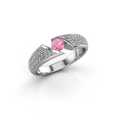 Foto van Ring Hojalien 3 950 platina roze saffier 4 mm