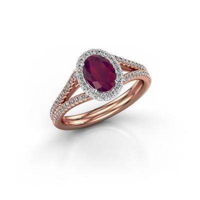 Engagement ring Rachele 2 585 rose gold rhodolite 7x5 mm