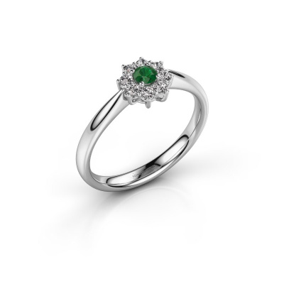 Foto van Verlovingsring Carolyn 1 925 zilver smaragd 3 mm