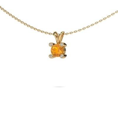 Foto van Hanger Fleur 585 goud citrien 5 mm