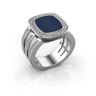 Foto van Zegelring Tijn 925 zilver donker blauw lagensteen 13x11 mm