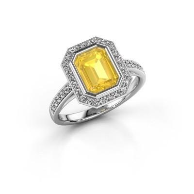 Verlovingsring Noud 2 EME 925 zilver gele saffier 8x6 mm